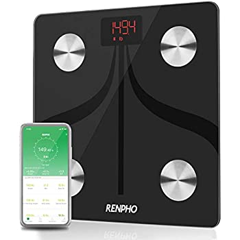 RENPHO Bluetooth Body Fat Scale USB Rechargeable Smart Digital Bathroom Weight Scale with Smartphone App Wireless BMI Scale Body Fat Monitors, 396 lbs
