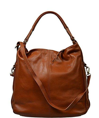 Schöne praktische Leder Camel Handtasche aus Leder Gemma Camel 2 über die Schulter