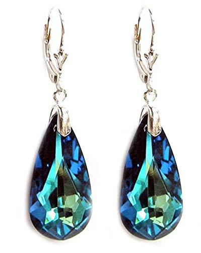 Swarovski Crystal Sterling Silver Dangle Earrings, Leverback Drop Earrings #SSE16