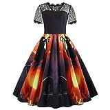 AMSKY Dress Shirts for Men,Women Halloween Printed Lace Short Sleeve Evening Party Dress Swing Dress XL,Socks & Hosiery,Black,XL