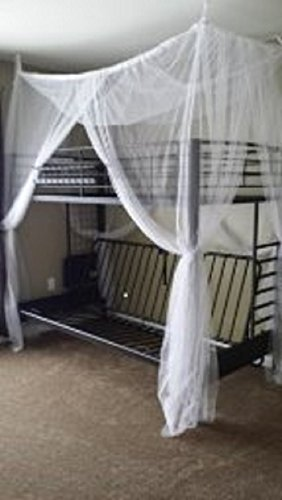 - Octorose ® 4 Poster Bed Canopy Functional Mosquito Insect Netting with Canopy Pole Can Fit Crib, Twin, Twin/full Bunk Bed, Full, Queen, King and Cal King Bed (Twin / Twin-Full bunk)