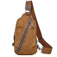 Naladoo Men's Retro Canvas Chest Bag Outdoor Casual Cross body Sling Backpack (Coffee)