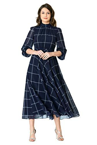 - eShakti FX Ruched Windowpane Check Print Georgette midi Dress Deep Navy/White