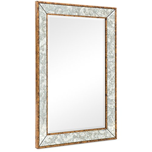 Best Choice Products 36″x24″ Rectangular Bedroom Bathroom Entryway Decorative Wall Mirror (Brown)