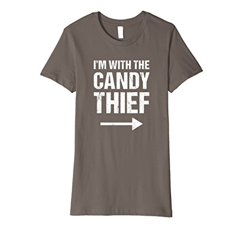 Thief Costume Halloween (Womens Halloween Couples Costume Shirt I'm With The Candy Thief Small Asphalt)