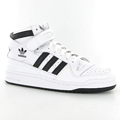 check out 2b03f 3aaa6 Adidas Forum Mid White Black Leather Mens Trainers Amazon.co.uk Shoes   Bags