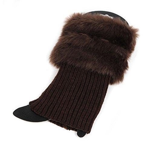 SCASTOE Womens Winter Warm Crochet Knit Fur Trim Leg Warmers Cuffs Toppers Boot Socks (Coffee)