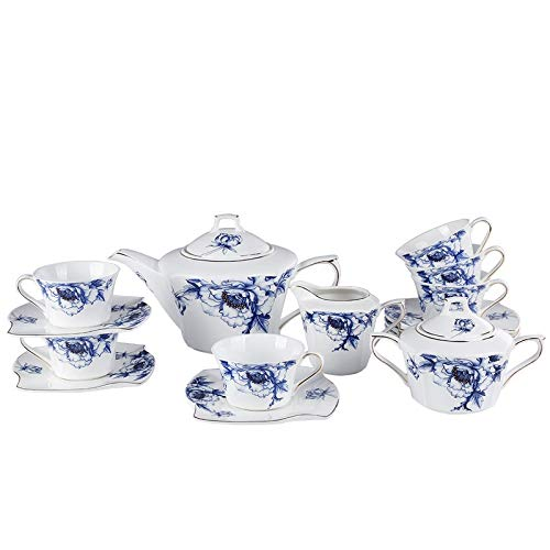 Blue Flower Set - Porlien 17-Pc Bone China Tea Set-Blue Flower Trimmed in Gold-Cups and Saucers Set with Teapot, Sugar Bowl & Milk Jug