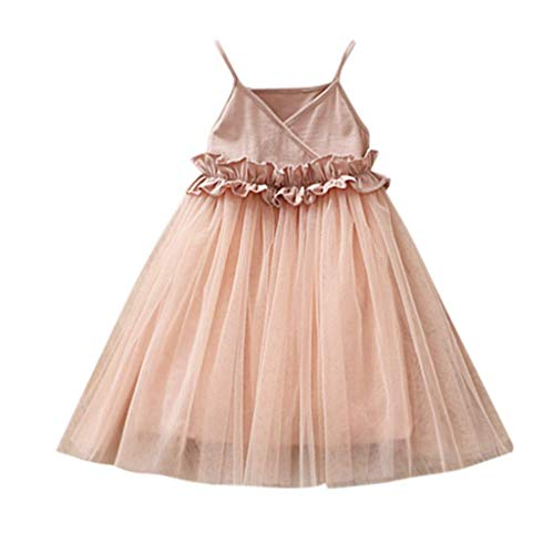VEFSU Toddler Kids Baby Girls Mesh Dress Party Gown Pageant Princess Party Tulle Tutu Dress Skirt Pink 3-4 Years]()