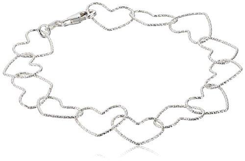 (Sterling Silver Diamond Cut Heart Link Bracelet, 7.5