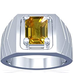 Emerald Cut Yellow Sapphire Solitaire Platinum Ring