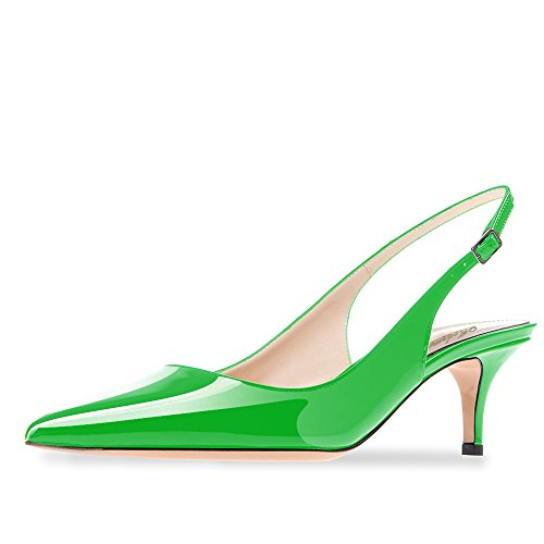 Modemoven Women's Green Patent Leather Pointed Toe Slingback Ankle Strap Kitten Heels Pumps Evening Stiletto Shoes - 6 M US - Womens Green Mid Heel