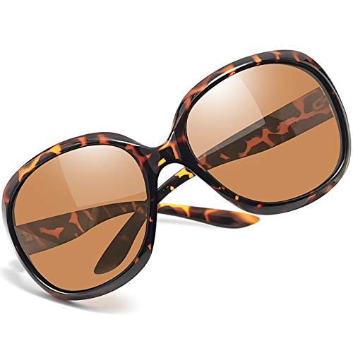 Joopin Oversized Polarized Sunglasses for Women, Ladies Vintage Thick Big Frame Sun Glasses Shades for Women (Leopard Brown)