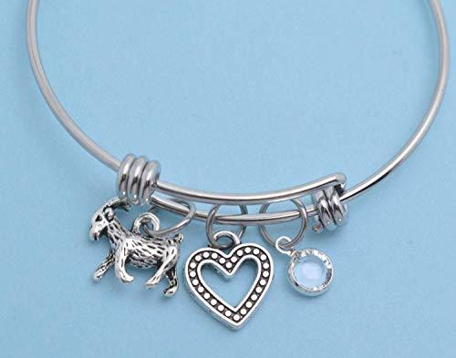 (Little Girls Goat Bangle Bracelet in stainless steel. Little girls jewelry. Little girls bracelet. Goat gifts. Goat jewelry. Goat.)