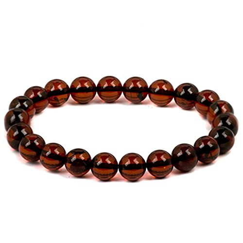 Red Dark Amber Round Beads Bracelet Adjustable Length 6.5 to 7.5 Inches