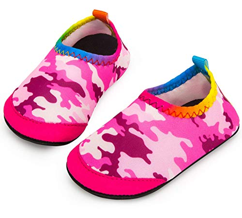 (Apolter Baby Boys and Girls Swim Water Shoes Barefoot Aqua Socks Non-Slip for Beach Pool, Camouflage/Pink, 4-5)