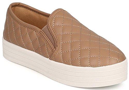 Dev Dames Breckelle Reneeze Gewatteerd Lederen Multicoilor Platform Slip Op Sneaker Schoenen Natuurlijk