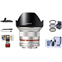 Rokinon 12mm F/2.0 Ultra Wide, Manual Focus Lens for Sony E Mount, Silver - Bundle With 67mm Filter Kit, Cleaning Kit, Capleash II, Lenspen Lens Cleaner, Mac Software Package