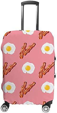 スーツケースカバー ベーコン 目玉焼き 伸縮素材 キャリーバッグ お荷物カバ 保護 傷や汚れから守る ジッパー 水洗える 旅行 出張 S/M/L/XLサイズ