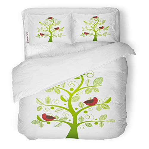 Semtomn Decor Duvet Cover Set Twin Size Green Family Birds in Tree Red Partridge Dove Whimsical 3 Piece Brushed Microfiber Fabric Print Bedding Set Cover