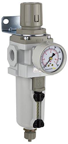 PneumaticPlus SAW400-N04BG-MEP Compressed Air Filter Regulator Piggyback Combo 1/2' NPT - Metal Bowl, Manual Drain, Bracket, Gauge