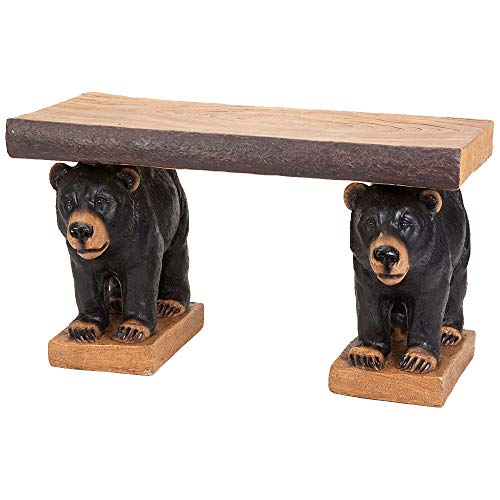 Bits and Pieces - Rustic Bear Pair Bench - Realistic Black Bears Holding Accent Seating Bench - Indoor or Outdoor Decorative Bench Décor