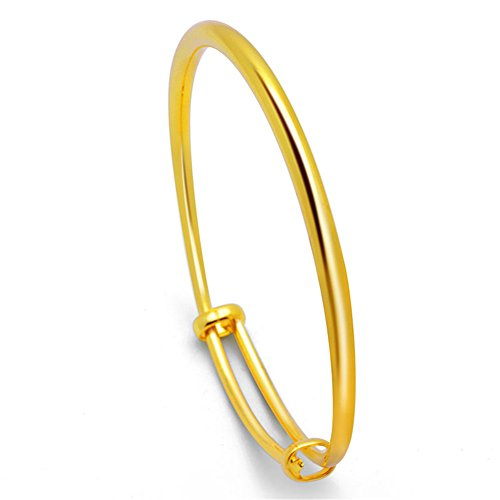 18k Gold Plated Bangle Bracelet Express Your Love to Families, Friends and Lover, Adjustable Bracelets(Style 1)