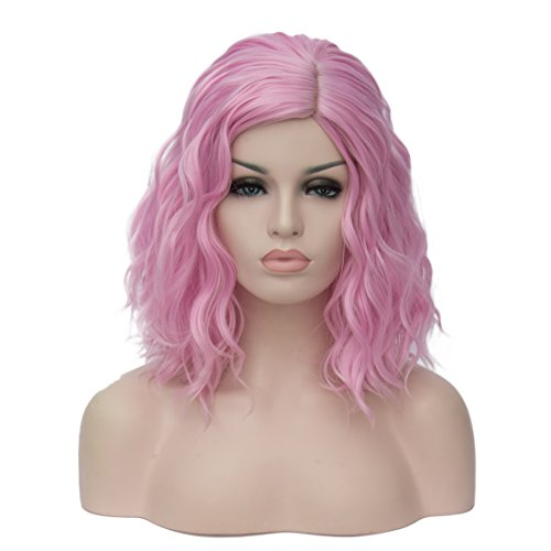 GOOACTION Short Bob Wigs Light Pink Curly Wavy
