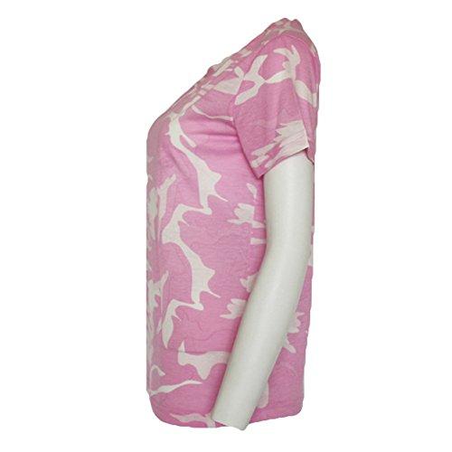 Tondo Kootk Colletto Cotone Donna Tuta Casual Verde T Donna Shirt Mimetica Militare Rosa in Loose Allentata Mimetica Allover Allentata PXwqZxPrv8