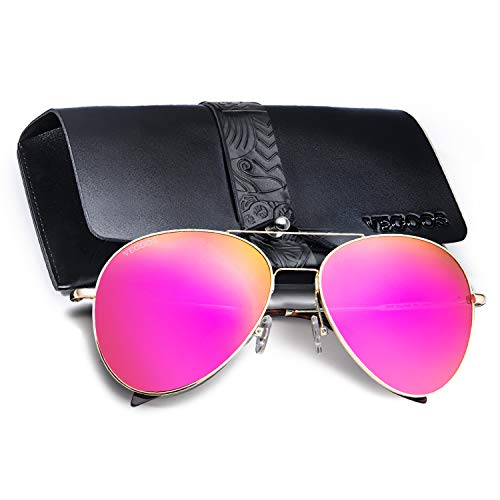 VEGOOS Aviator Sunglasses for Women Polarized UV Protection Mirrored Driving Sunglasses with Case Pink Summer ()