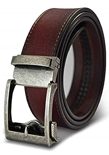Classic Men's Leather Ratchet Click Belt - Antique Silver Buckle with Brown Rosewood Leather Belt (Trim to Fit: Up to 38'' Waist)