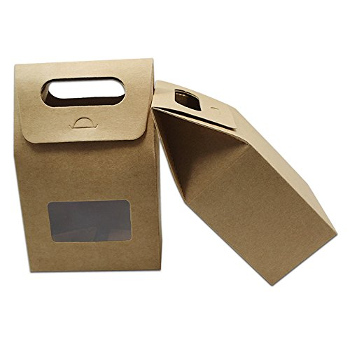Kraft Paper Box Paperboard Box Gift Handle Box Clear Plastic Window Stand Up Folding Side Cardboard For Biscuit Wedding Party Favor Supplies (20 pack in Brown / 3.93'x2.36'x6.3' (10x6x16cm))