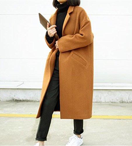 Abrigo Chaquetas Trencas Bolsillo Larga De Gabardina Manga Para Mujer Khaki Parkas CTn4xqTt