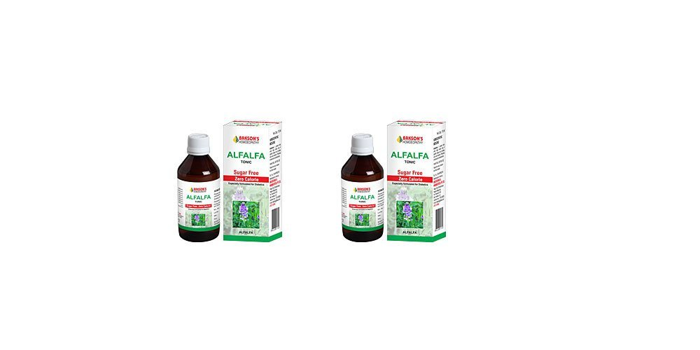 2 x Bakson's Alfalfa Tonic - Sugar Free Zero Calorie - 450ml