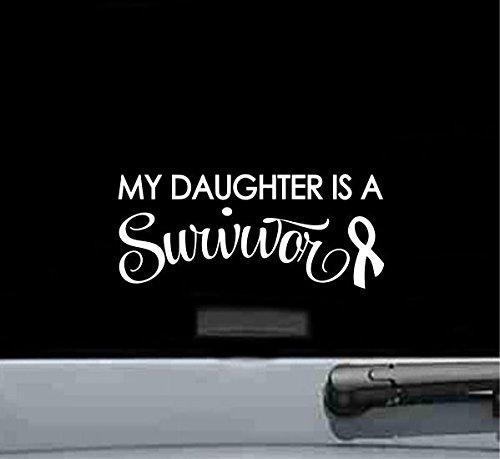 JS Artworks My Daughter is a Survivor Ribbon Breast Cancer Vinyl Decal Sticker
