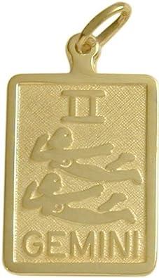 14 Karat Yellow Gold Gemini Zodiac Pendant with Chain