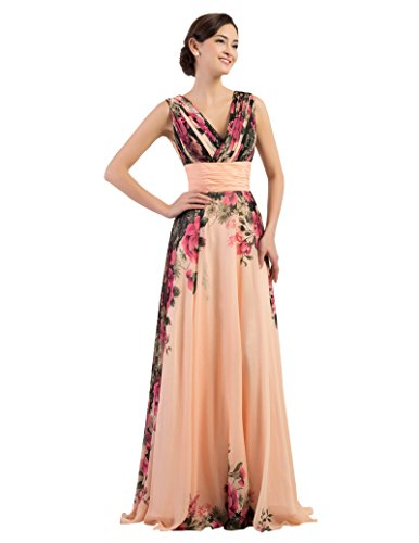 GRACE KARIN Floral Print Graceful Chiffon Prom Dress for Women (Multi-Colored) (8, Apricot V-Neck)
