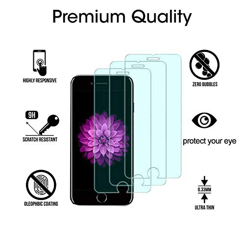 Tempered Glass Screen Protector iPhone 6s Plus 6 Plus 7 Plus 8 Plus, Kione Anti Blue Light Screen Protector [ Eye Protect ] [ Touch Screen Accuracy ] Tempered Glass for iPhone 6P/ 6sP/7P/8P [3 Pcs]