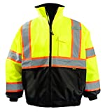 OccuNomix LUX-350-JB2-YS High Visibility 2-in-1 Quilted Two-Tone Black Bottom X Back Bomber Jacket with Zip-Out Quilted Liner and 7 Pockets, Class 3, 100% ANSI Polyester, Small, Yellow