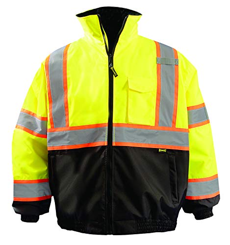 OccuNomix LUX-350-JB2-YS High Visibility 2-in-1 Quilted Two-Tone Black Bottom X Back Bomber Jacket with Zip-Out Quilted Liner and 7 Pockets, Class 3, 100% ANSI Polyester, Small, Yellow by OccuNomix (Image #3)