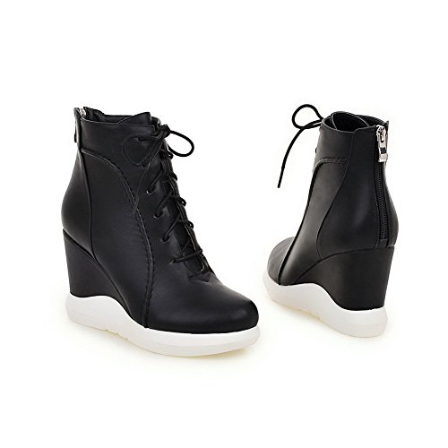 Allhqfashion Women's Soft Material Closed Round Toe Solid Low-top High-Heels Boots Black S99Y6myUVx