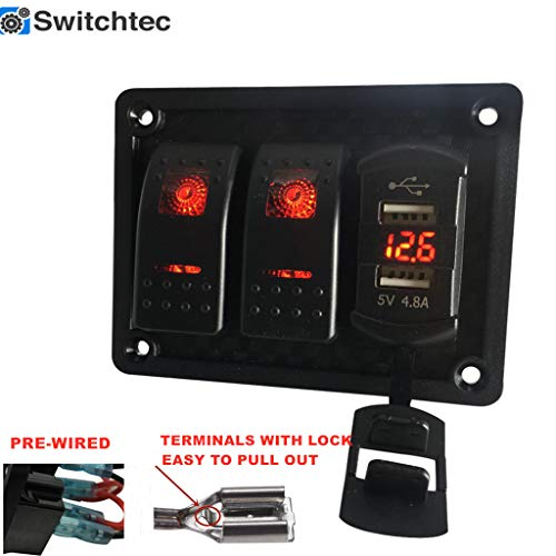 Switchtec 2 Gang Rocker Switch Panel with 4.8 Amp Dual USB Rocker Style Fast Charger w/Voltmeter, Red Backlit Led, Pre-Wired switches and USB Charger.