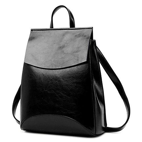 (JVP1088-R1) Suerte de cuero de vaca zurriago mochila de vino tinto 3way bolso de hombro bolso simple anillo impermeable niñas viajan a la moda popular lindo Negro