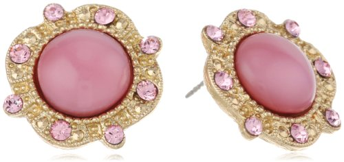 "UPC 011996239374, Signature 1928 ""Moonstone"" Gold-Tone Pink Moonstone Round Button Stud Earrings"