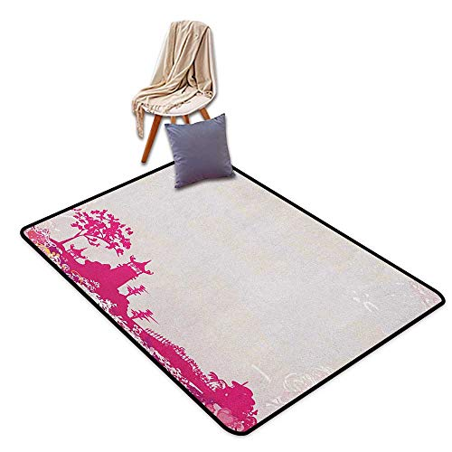 Non-Slip Carpet Asian Traditional Pagoda in Pastel Colors Centre of Inner and Outer Peace Spiritual Theme Girl Room Children's Room Kindergarten Decoration Rug W5'xL6'