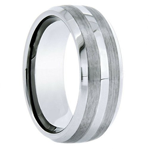 8MM Tungsten Carbide Men's Duo Satin Striped Wedding Ring (9) (Striped Wedding Band Ring)