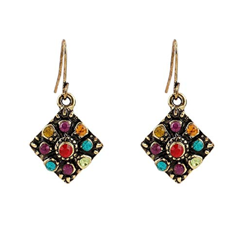 Elegant Lady Colorful Gem Studded Earrings Rhinestone Geometric Square Drop Earring Vacation Party Boho Jewelry by Lowprofile