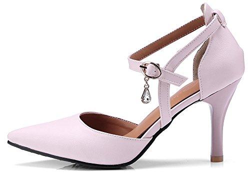 Idifu Donna Elegante Cinturino Alla Caviglia Scarpe A Punta Pendenti Con Tacco A Spillo Rosa