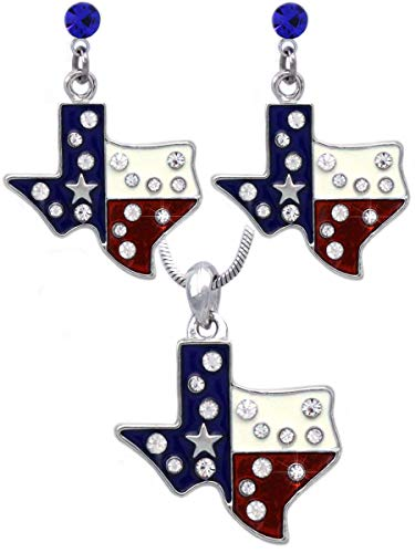 cocojewelry 4th of July USA American Flag Heart Star Pendant Necklace Earrings Set (Texas Map Royal Blue Dot)