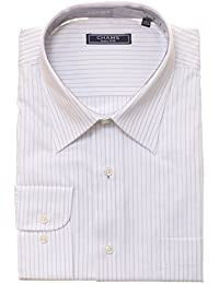 Classic Fit White and Blue Pinstriped Fine Combed Cotton Dress Shirt